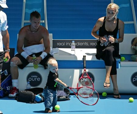 Lleyton Hewitt with Family on Court 4
