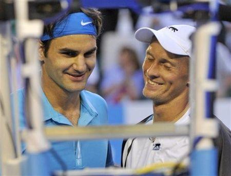 Roger Federer w Davydenko AO10 QF Win ap