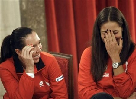 Ana Invanovic and Jelena Jankovic Fed Cup Press ap