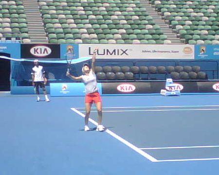 Justine Henin Practices AO10