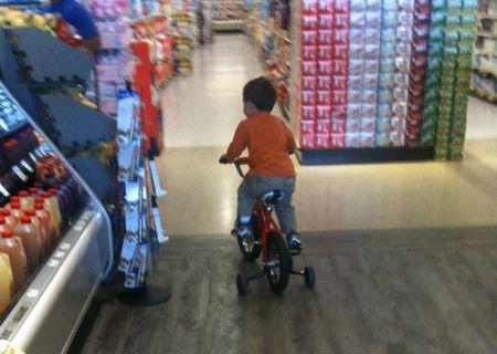 Boy on Bike in Pav