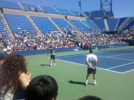Roger Federer Paul Annacone Practice USO.10 tw