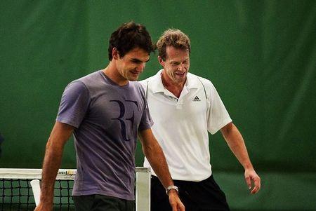 Roger Federer Stockholm.10 Practice with Stefan Edberg 1