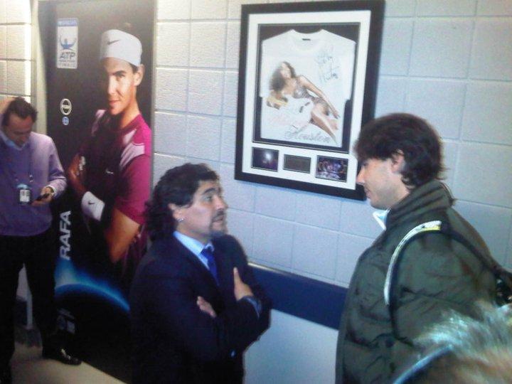 Rafael Nadal London O2.10 with Maradona