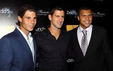 Jo-Wilfried Tsonga Rafa Nadal Novak Djokovic Monte Carlo.10 Players Party fb