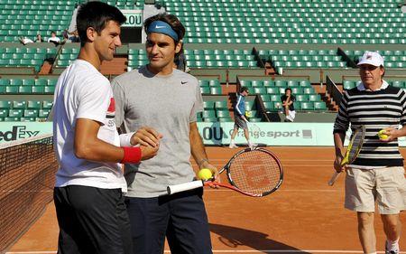 Roger Federer Novak Djokovic Practice RG.10