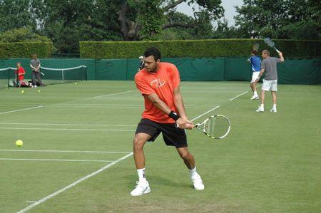 Jo-Wilfried Tsonga Practices Wimbledon.10 fb