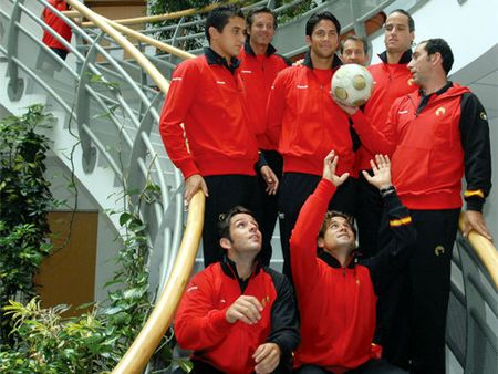 Spanish Davis Cup Team Support World Cup Team