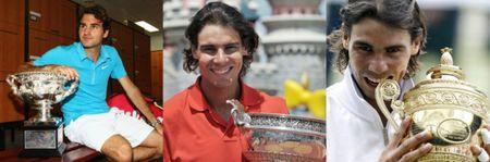 Rafael Nadal Roger Federer 1st 3 Slams of 2010