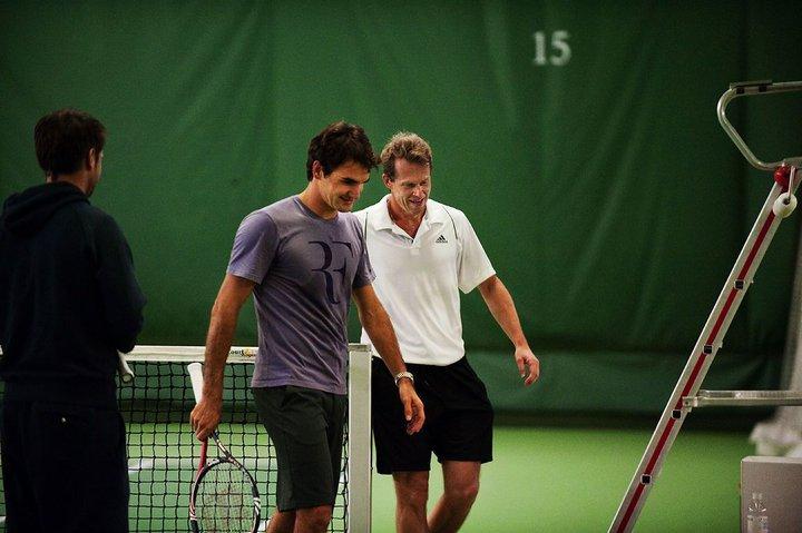 Roger Federer Stockholm.10 Practice with Stefan Edberg