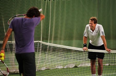 Roger Federer Stockholm.10 Practice with Stefan Edberg 2