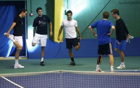 French Davis Cup.10 Team Practice for Final 2 g