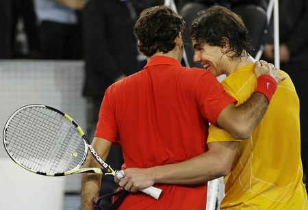 Rafael Nadal Roger Federer Madrid Exo.10 Post Match