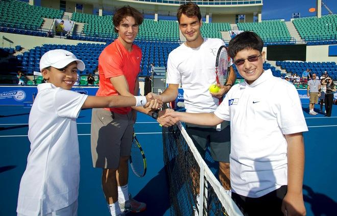 Rafael Nadal Roger Federer Abu Dhabi.11 Kids Day