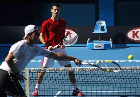 Rafael Nadal Novak Djokovic AO11 Practice 2 r