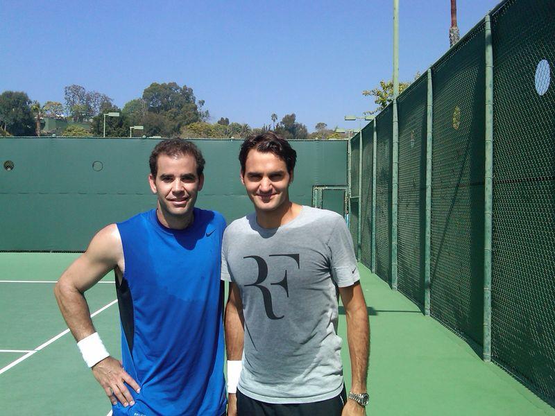 Roger Federer Pete Sampras Practice in LA March.11
