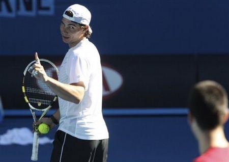 Rafael Nadal Novak Djokovic AO11 Practice 1 ap