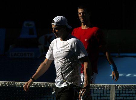 Rafael Nadal Novak Djokovic AO11 Practice 1 r