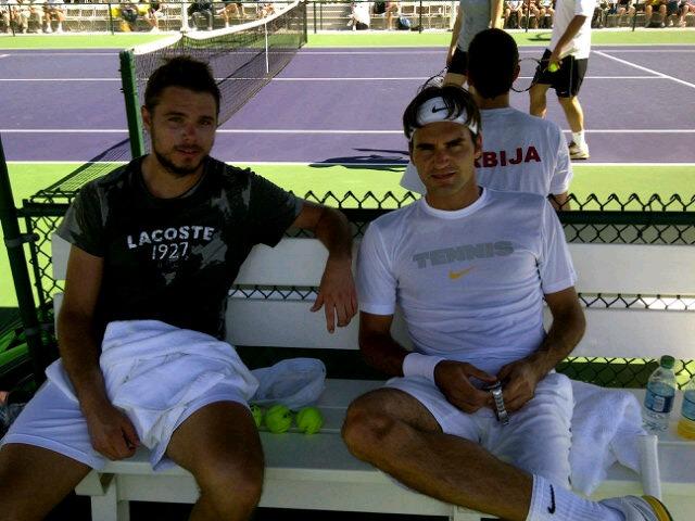 Roger Federer Stan Wawrinka Indian Wells.11 Practice tw