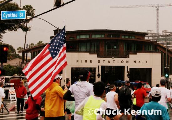 7 LA Marathon Fire Station and US Flag
