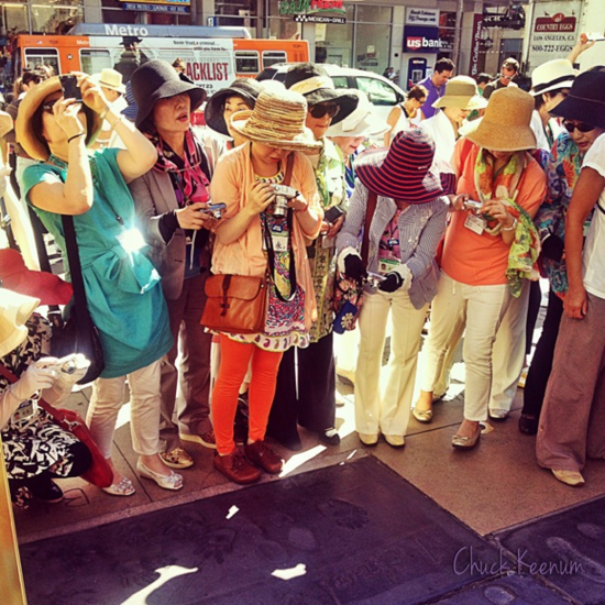 Japanese Tourists at MJ's Footprints - Lens Angeles